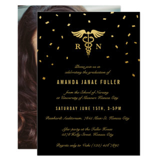 Nursing Graduation Invitations | Gold & Black