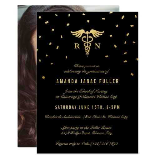 Nursing Graduation Invitations Gold & Black