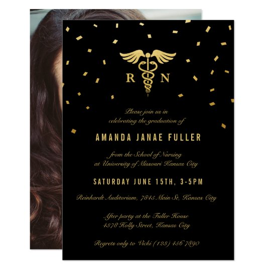 Nursing Graduation Invitations Gold Black Zazzlecom