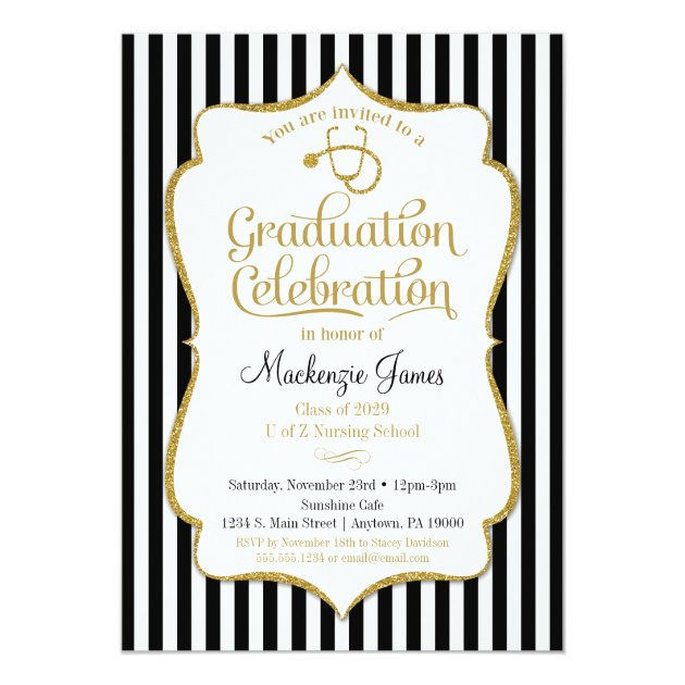 2019 Graduation Party Invitations For Medical Nursing