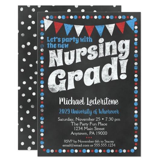 Nursing graduation party invitation red blue zazzle nursing graduation party invitation red blue filmwisefo