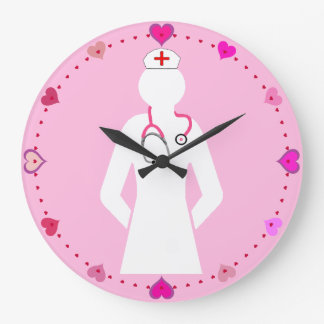 Nursing Icon with Stethoscope Wall Clock