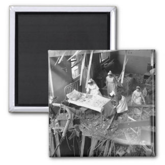 Nursing In Bombed Building WWII 2 Inch Square Magnet