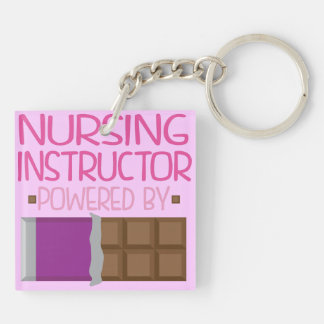 Nursing Instructor Chocolate Gift for Her Double-Sided Square Acrylic Keychain