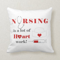 Nursing is a lot of heartwork throw pillow