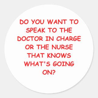 nursing joke classic round sticker