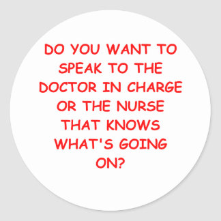 nursing joke round stickers