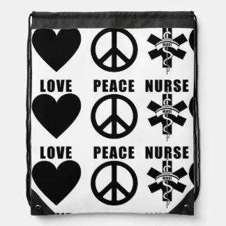 Nursing Love Peace Nurse Drawstring Bag