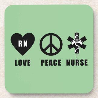 Nursing Love Peace RN Nurses Beverage Coaster