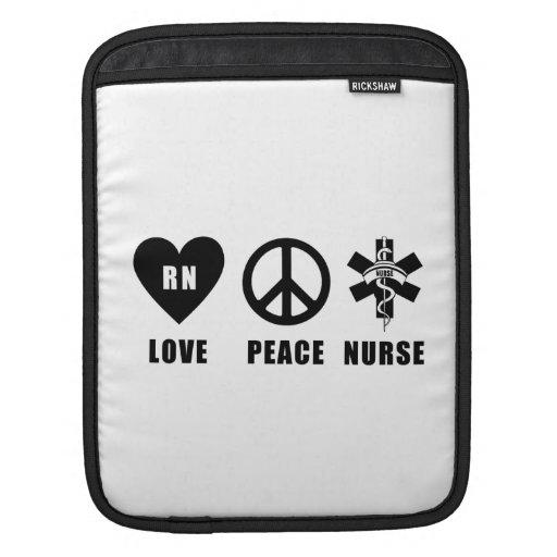 Nursing Love Peace RN Nurses iPad Sleeves