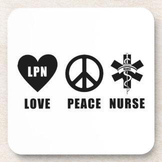 Nursing LPN Love Peace Nurse Coaster