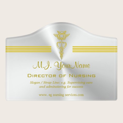 Nursing profession design with golden caduceus door sign