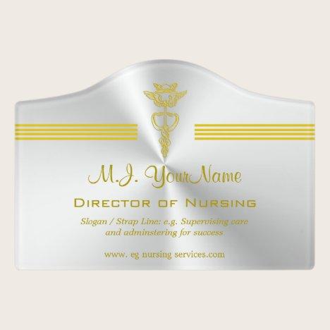 Nursing profession design with golden caduceus door sign