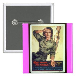 Nursing Recruitment Poster WW ll - Vintage Art Button