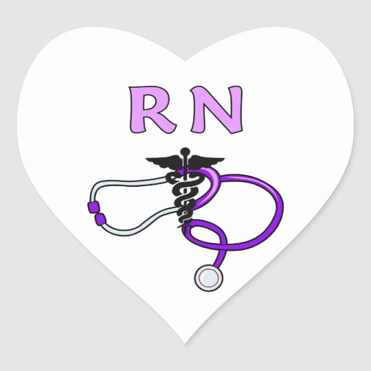Nursing RN Stethoscope Heart Sticker