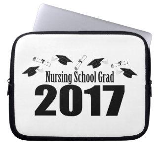 Nursing School Grad 2017 Caps And Diplomas (Black) Laptop Sleeve