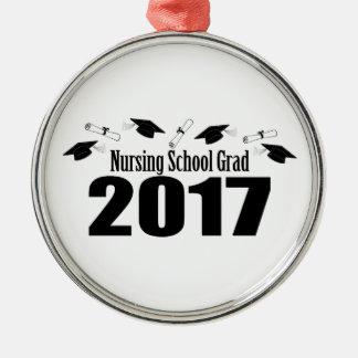Nursing School Grad 2017 Caps And Diplomas (Black) Metal Ornament