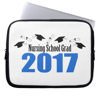Nursing School Grad 2017 Caps And Diplomas (Blue) Computer Sleeve
