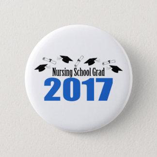 Nursing School Grad 2017 Caps And Diplomas (Blue) Pinback Button
