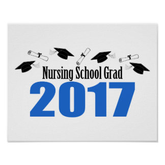 Nursing School Grad 2017 Caps And Diplomas (Blue) Poster