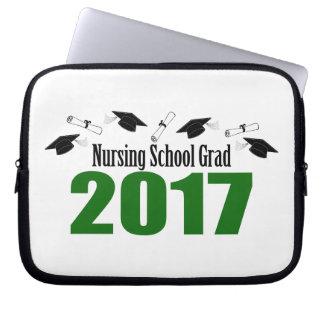 Nursing School Grad 2017 Caps And Diplomas (Green) Computer Sleeve