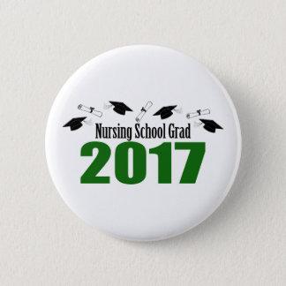 Nursing School Grad 2017 Caps And Diplomas (Green) Pinback Button