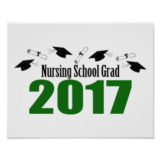 Nursing School Grad 2017 Caps And Diplomas (Green) Poster