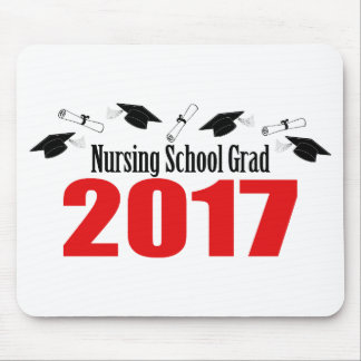 Nursing School Grad 2017 Caps And Diplomas (Red) Mouse Pad