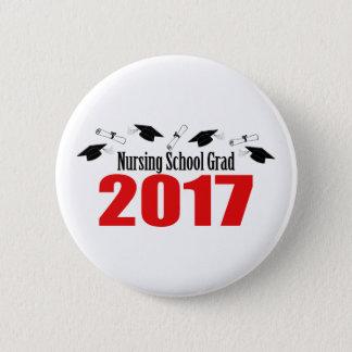 Nursing School Grad 2017 Caps And Diplomas (Red) Pinback Button