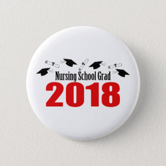 Nursing School Grad 2018 Caps And Diplomas (Red) Pinback Button