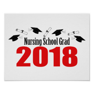 Nursing School Grad 2018 Caps And Diplomas (Red) Poster