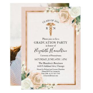Nursing School Graduation Party Photo Blush Floral Card