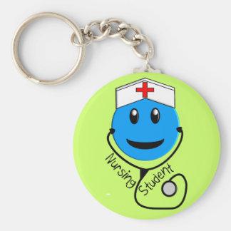 Nursing Student Big Blue Smiley Gifts Basic Round Button Keychain