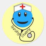 Nursing Student Big Blue Smiley Gifts Sticker