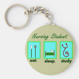 nursing student eat sleep study keychain