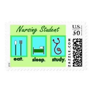 nursing student eat sleep study postage