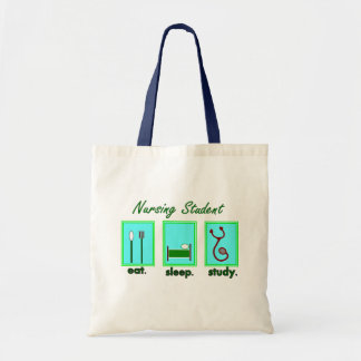 nursing student eat sleep study tote bag