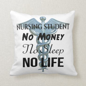 Beach Themed Nursing Student Funny Nurse Quote Throw Pillow
