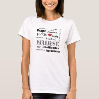 Nursing Student Pride-Attributes+red heart T-Shirt