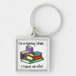 Nursing Student Silver-Colored Square Keychain