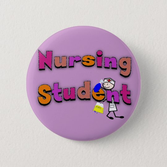 Nursing Student Watercolor Art Stick Person Nurse Pinback Button
