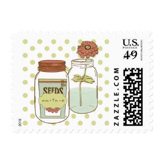 Nurture mason jar and flower postage stamp