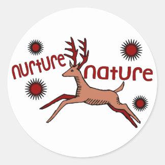 Nurture Nature Deer Classic Round Sticker