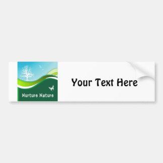 Nurture Nature Rolling Grass Sky Trees & Birds Car Bumper Sticker