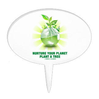 Nurture Your Planet Plant A Tree (Planet Earth) Cake Topper