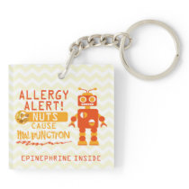 Nut Allergy Alert Kids Orange Robot Boys Keychain