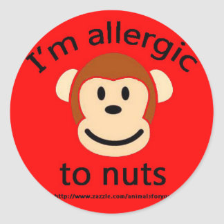 Nut allergy alert monkey classic round sticker