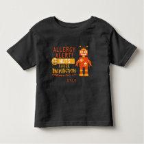 Nut Allergy Alert Orange Robot Boys Toddler T-shirt