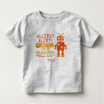 Nut Allergy Alert Orange Robot Boys Toddler T-shirt