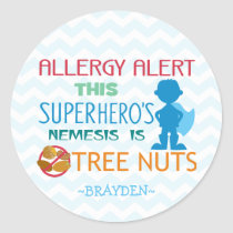 Nut Allergy Alert Superhero Boy Stickers